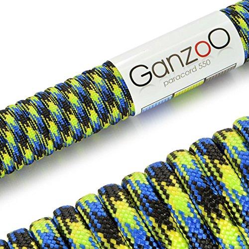 Paracord 550 touw neon-blauw | zwart | 31 meter nylon touw met 7 kernstrengen | voor armband | knopen van hondenlijn of hondenhalsband om zelf te maken | touw met 4 mm dikte | multifunctioneel touw | survivaltouw | parachutekoord belastbaar tot 250 kg (550lbs) zwart, groen, geel, blauw - merk Ganzoo