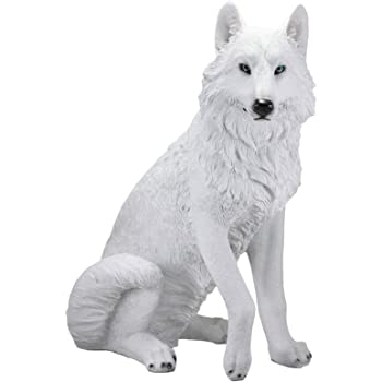 """Ebros Large Artemis Wildlife Sitting Alpha Albino Ghost White Wolf Statue 20.5"""" Tall Lifelike Wolves Or Timberwolves Decor Figurine for Rustic Cabin Lodge Animal Totem Spirit Collectible Art Gifts"""