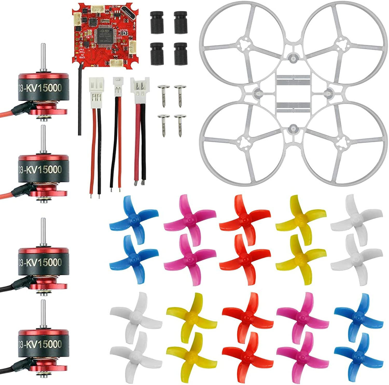 FEICHAO 75mm Indoor Brushless Whoop Racer Drone Combo Set Mini Frame Kit Crazybee ESC SE0703 Motor 4Blades Propeller (Kit set with 1500KV motor)