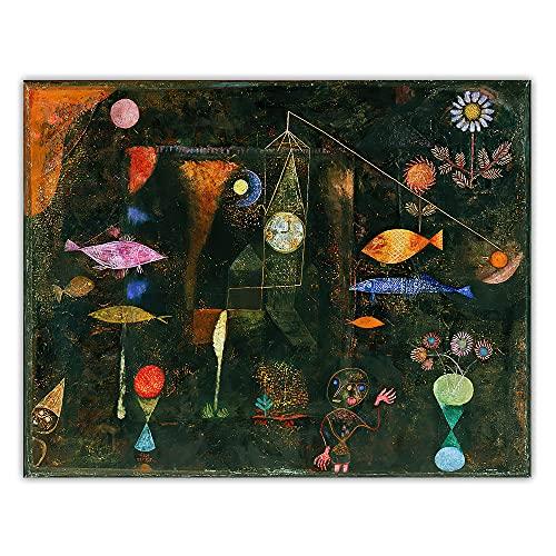 CYTTOU Citon Paul Klee  Magia de los peces  Arte de lona Pintura al óleo Obra de arte Imprimir Cartel Imagen Decoración de la pared Decoración de la sala de estar 20x28 Inch Sin marco