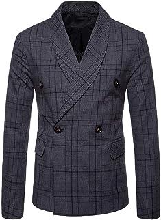 Men's Suit Slim Fashionable Double Checked Fit Breasted Button Comfortable Sizes Lattice Long Sleeve Suit Blazer Men Coat ...