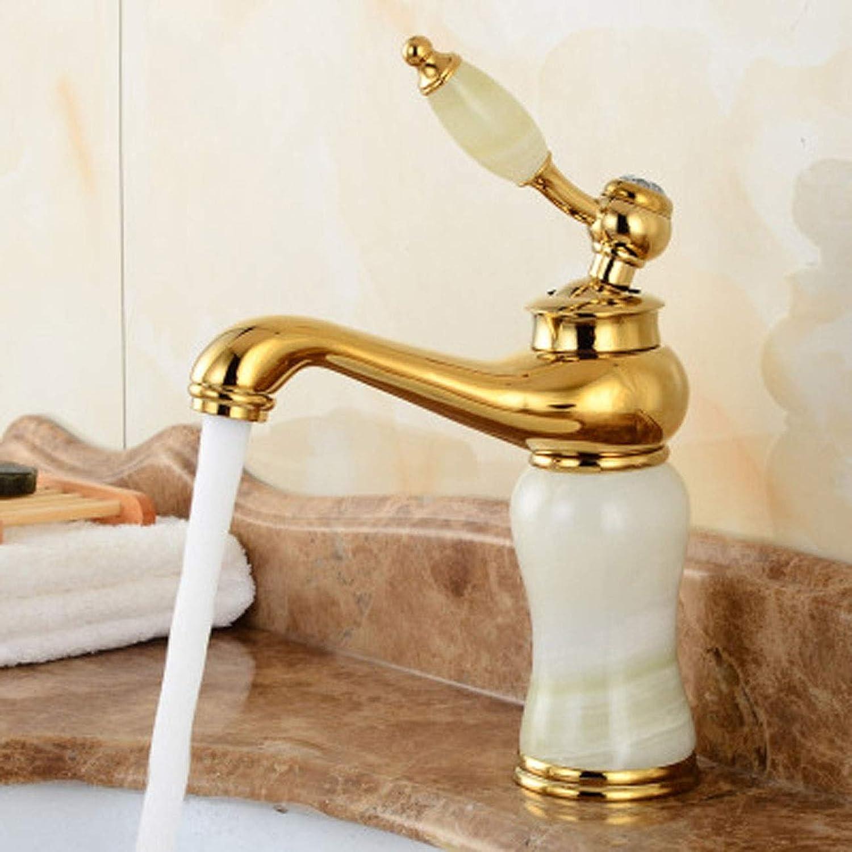 Giow Spültischarmaturen Europische antikekupfer Gold Jade waschbecken waschbecken heies und kaltes Wasser Wasserhahn Wasserhahn (Farbe  B)