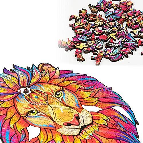 Mipan Rompecabezas de Madera, diseño de león de Dibujos Animados de Madera, Juguete para niños Adultos, Piezas de Rompecabezas con Forma de león Misterioso, Adultos y niños