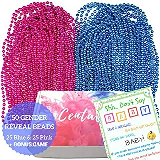 50 Large Gender Reveal Beads Necklaces 7mm plus Game - 33'' Premium Blue and Pink Beads Necklaces with Don't Say Baby - Gender Reveal Party Supplies