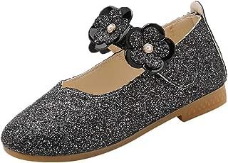 Boomboom Baby'Shoes Girl Glitter Ballet Toddler/Little Girl Mary Jane Front Bow Heart Rhinestone Buckle Ballerina Flat