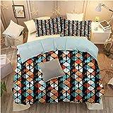 hengshu Lush Decor Quilt Reversible 3 Piece Bedding Set Twin Quilt Set Modern Modern Hexagon Design W80 x L90 Inch Print Bedding Set