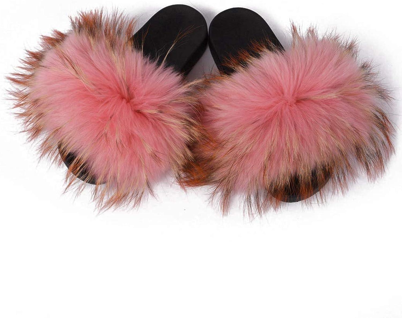 Summer Women's Slippers Fur Ladies Home Plush Slides House Flip Flops Indoor Furry Sandals