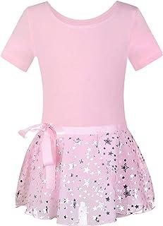 Girls Short-Sleeve Ballet Dance Leotards - Kids Sparkle Star Print Wrap Skirt Dancewear Tutu Fancy Dress Set