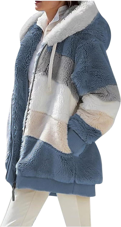 Women's Coat Casual Lapel Fleece Fuzzy Faux Shearling Zipper Coats Warm Winter Hooded Oversized Outwear Jackets