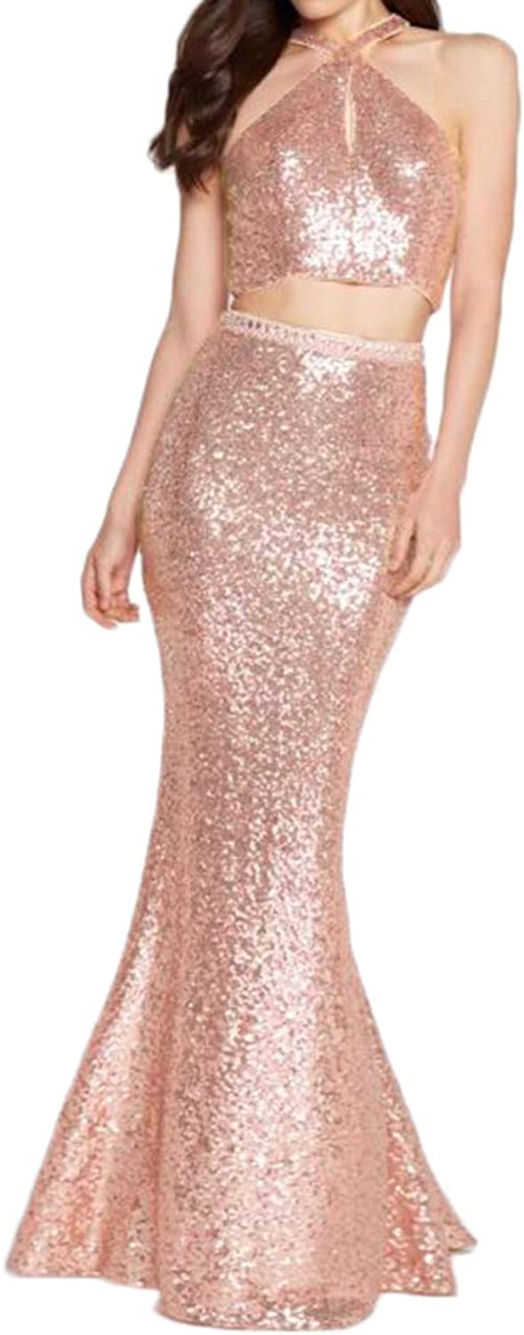 Alilith.Z Sexy Halter 2 Piece Sequins Prom Dresses Beaded Mermaid Long Formal Evening Dresses Party Gowns for Women