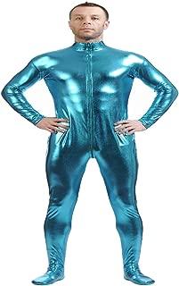 D DOLITY Shiny Spandex Full Body Suit Second Skin Bodysuit Zentai Unitard Sky Blue L