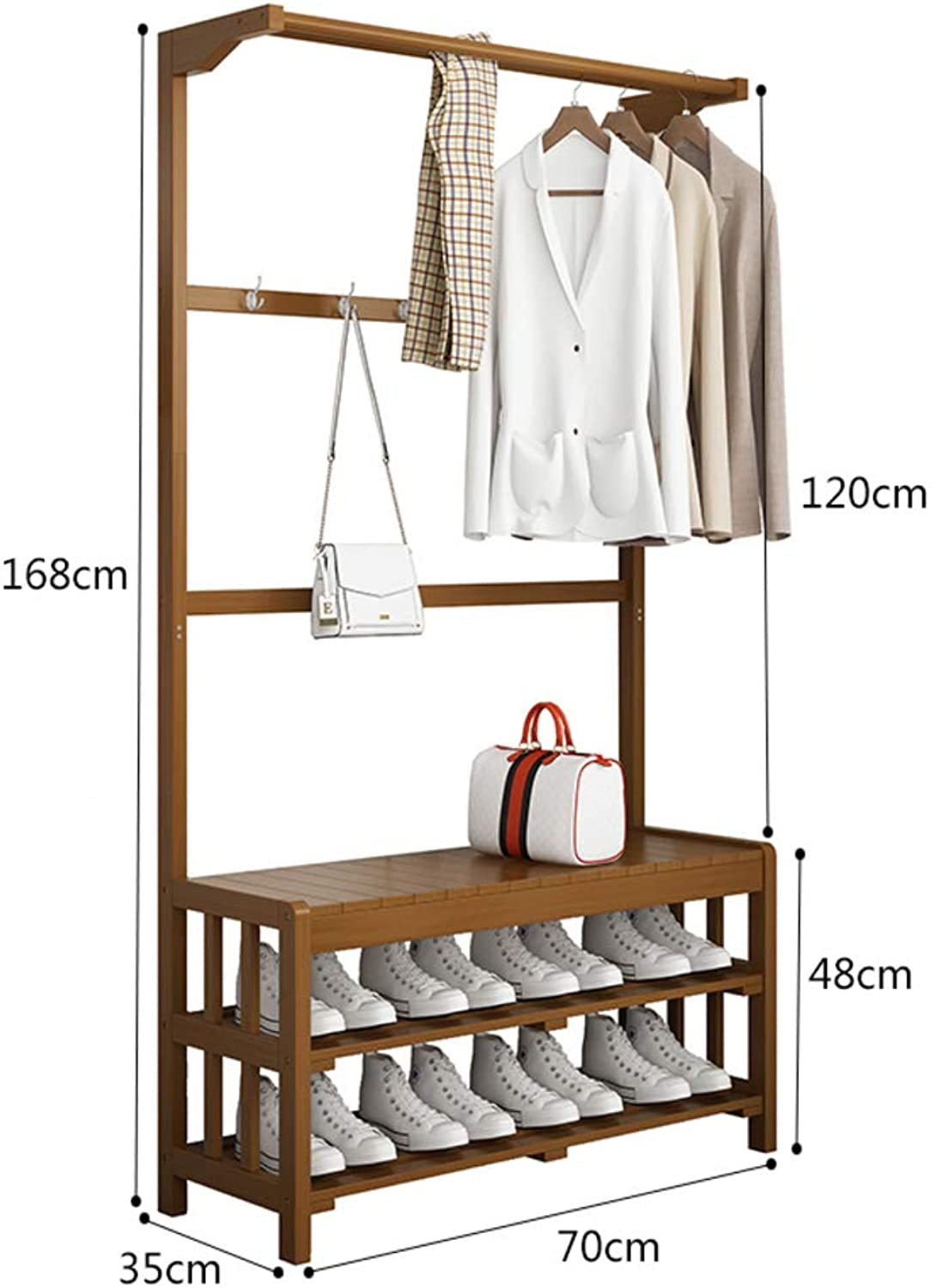 Coat Rack with Bench,Industrial Hooks,Hall Tree Entryway shoes Bench Rack and Coat Stand Storage Shelf Organizer 3 in 1 Design-E 70x35x168cm(28x14x66inch)