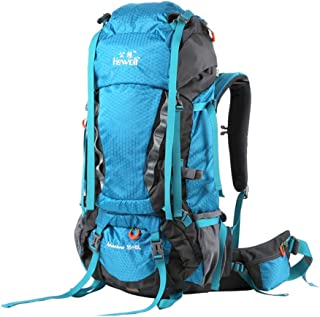 Mountaineering Bag Waterproof Outdoor Backpack Men and Women Travel Tourism Rucksack Riding 65L Sports Bag DWWSP (Color : Blue)