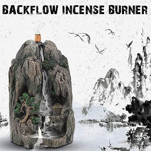 AUNMAS hars wierookbrander houder waterval berg toren backflow sandelhout oven met 10 kegels voor studie slaapkamer sauna yoga