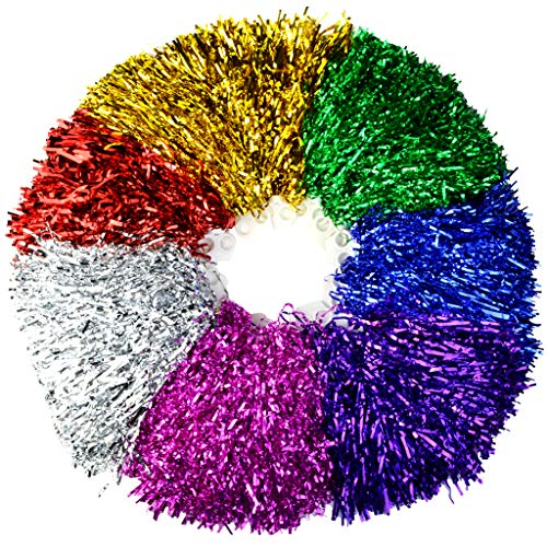 Marrywindix Cheerleading Pom Poms, 14 Pack Cheerleader Pompoms Metallic Foil and Plastic Ring Pompoms Cheerleader for Sports Team Spirit Cheering, Party and Dance