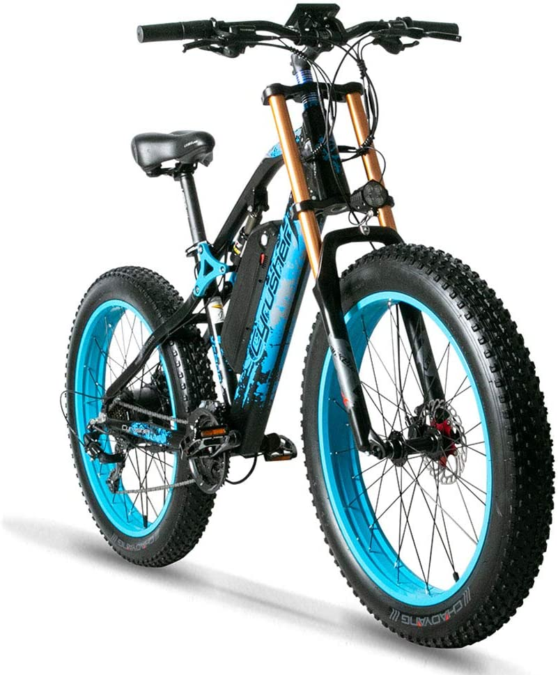 Amazon.com : Cyrusher XF900 750W Motorstyle Electric Bike 264 Fat Tire  Mountain Ebikes 21 Speeds Snow Beach Electric Bicycles with 17ah Battery  (Blue) : Sports & Outdoors