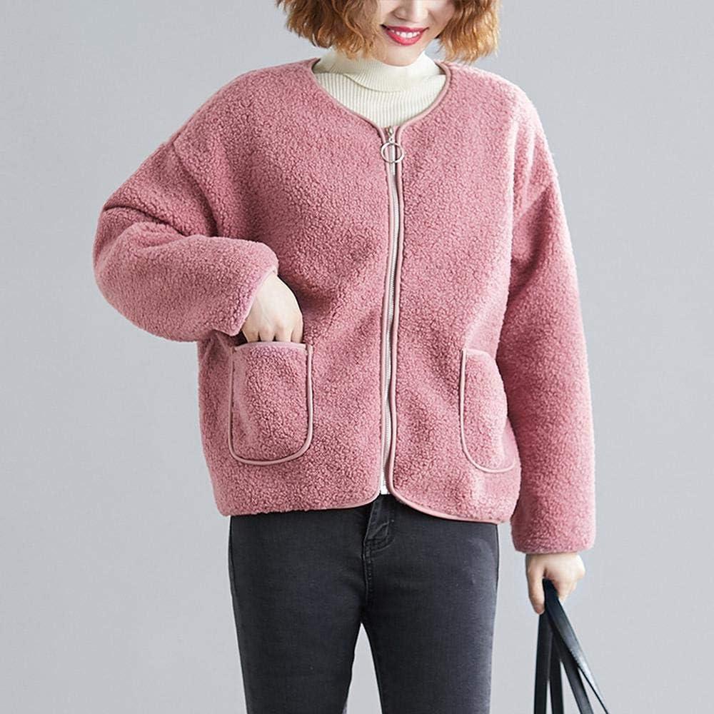 YXACETX 2020 New Women Christmas Coat Faux Fleece Jacket Women Fur Coat with Winter Warm Teddy Bear Outwear Pink-OneSize