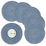 Homcomodar Tovagliette Rotonde Set di 6 Resistente al Calore Tovagliette per Tavolo da Pranzo 38cm(Blu)