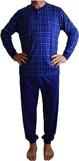Pijama de Hombre con Felpa de Algodón, Conjuntos Pijama Largo Calido para el Invierno, Camiseta con puño y Pantalones con puño.