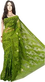 Wedding Dhakai Jamdani Handloom Silk Saree Ethnic Indian Beautiful Self Work Traditional Sari Bengal Weavers 105
