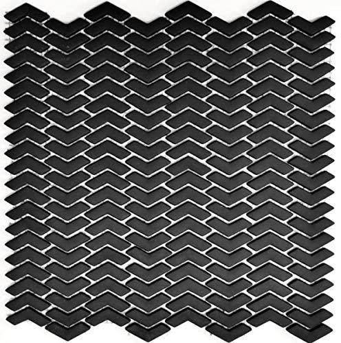 Mozaïek tegel ECO recycling GLAS visgraat Enamel zwart mat MOS140-HB31B_f | 10 mozaïekmatten