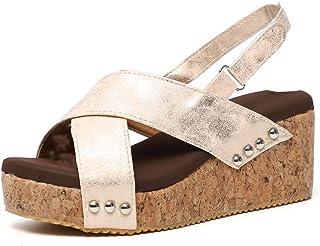 206d9cee6fd Sandalias Mujer de Tacón Cuñas Plataforma Zapatos de Vestir Peep Toe con  Hebilla Zapatillas de Playa