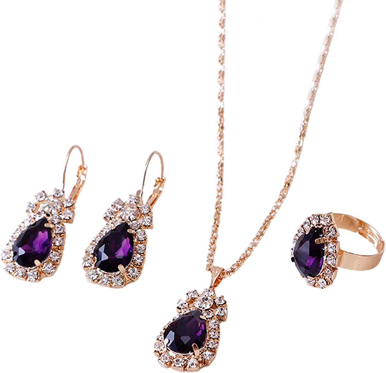 Women's Fashion Jewelry Sets, 3Pcs/Set Women Water Drop Bright Alloy Rhinestone Pendant Necklace Earrings Ring Jewelry Set for Valentine Day