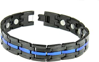 4031724 Stainless Steel Thin Blue Line Magnetic Bracelet Police Law Enforcement Trooper Officer Balance Health