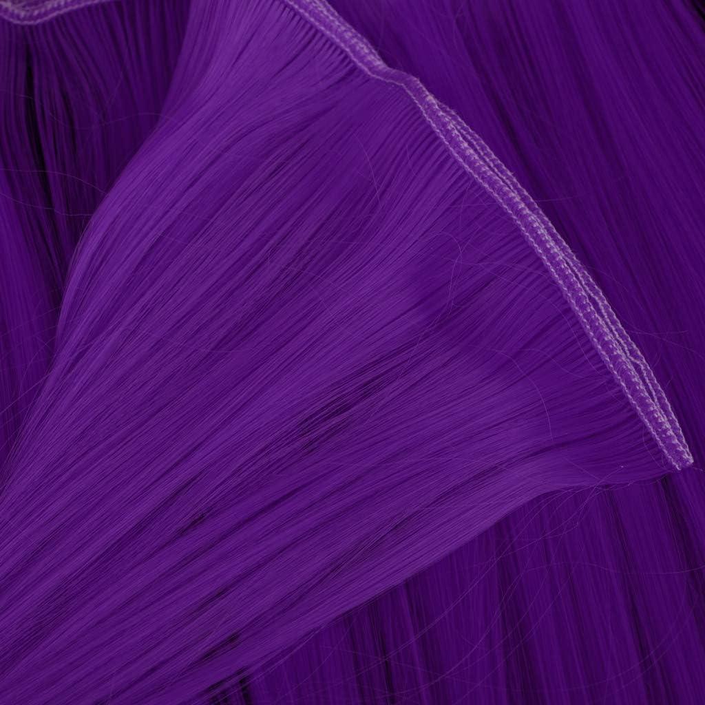 Fenteer Perruque Cheveux pour Femme Postiche D/écor Vintage Poup/ée Perruque R/étro Violet 25cm