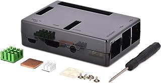 Aukru® Case Nero per Raspberry Pi 3 Modello B+ Plus/Pi 3 /Pi 2 Modello B/Modello B + con 3 Set Alluminio dissipatore
