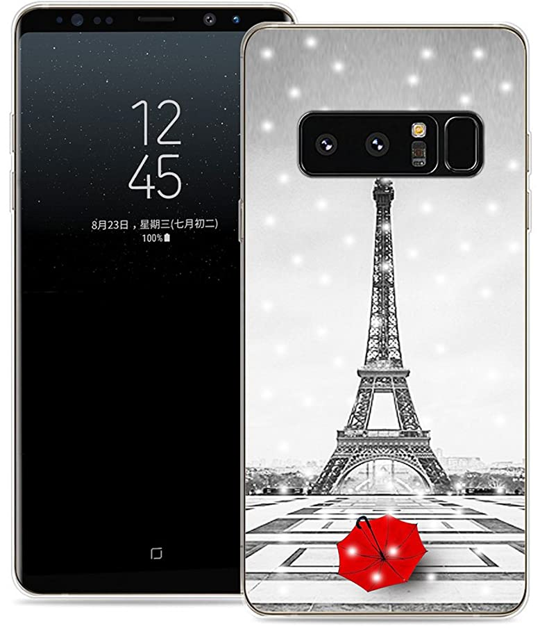 Case for Note 8 Eiffel Tower/IWONE Designer TPU Non Slip Rubber Durable Protective Skin Clear Cover Compatible for Samsung Galaxy Note 8 Get Lost in Paris Creative Romantic Eiffel Tower Design