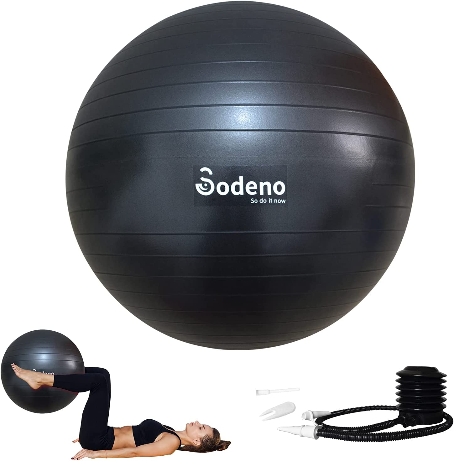 Sodeno New Exercise Ball, 45cm/55cm/65cm/75cm Yoga Fitness Pilates Ball with Quick Pump, Anti-Burst and Slip Resistant Workout Balance Birthing Ball for Home Gym & Office