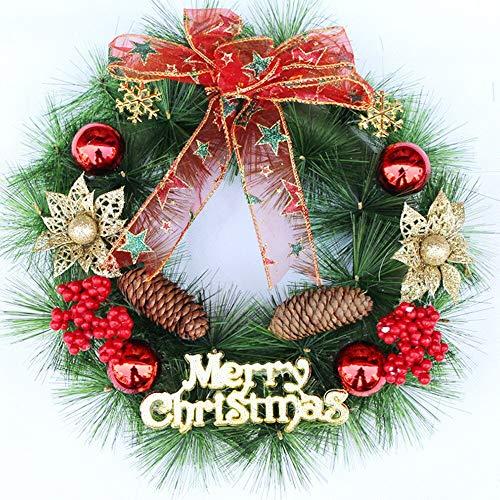 QIFENYEDENG Feliz Navidad, decoración de Fiesta de año Nuevo, Flor de Pascua, Pino, Puerta, Guirnalda de Pared, decoración, decoración de Navidad para el hogar, 30 cm.