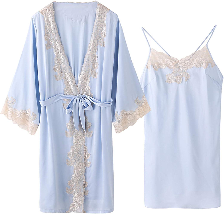 bluee Lace Kimono Suit, Satin Bridal Dressing Gown, Ladies Loose Bathrobe Pajamas, Nightwear for Summer