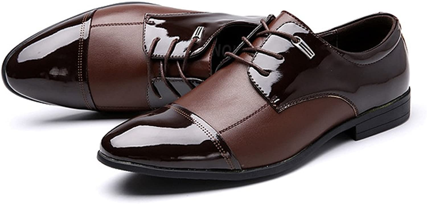 JUJIANFU-shoes Fashion Men's Business shoes Smooth Splice Matte PU Leather Lace Up Breathable Lined Oxfords