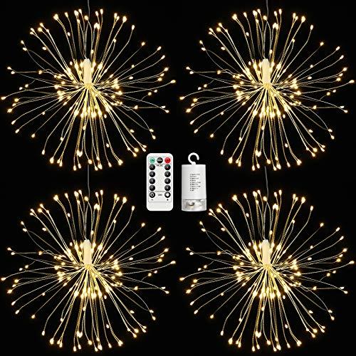 4 Pack Hängend Feuerwerk Licht, 120LED Outdoor Home Decor Batteriebetrieben 8 Modi Dimmbares Warmes Licht Kupferdraht Starburst Lichterketten mit Fernbedienung für Garden Patio Yard Pathway Lawn Party