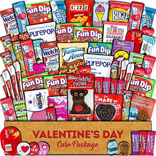 Valentine's Day Care Package (60ct) - Snacks, Chocolates, Candy Gift Box - Assortment Variety Bundle...