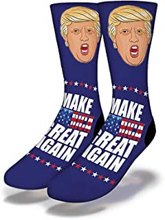Savvy Sox Donald Trump Make America Great Again - Polyblend Fabric, Ribbed Cushioned Heel - One Size Fits All