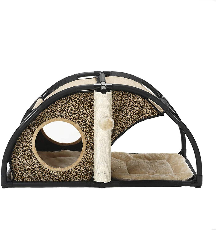 PET 55 Kitten Activity Tower Climbing Frame Comfortable Condo Cat Nest Jumping Platform Detachable Combination Nest (color   Leopard print)