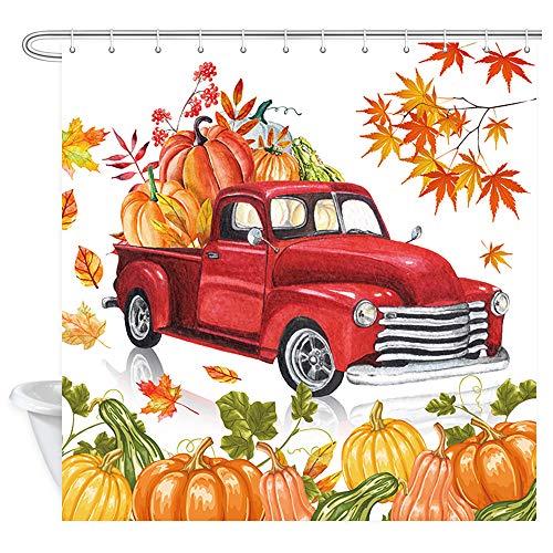 Herbst Thanksgiving Duschvorhang Landhaus LKW Retro Rot Rustikal Fall Farm Ernte Auto mit Kürbis & Herbst Ahornblätter Duschvorhang für Badezimmer Stoff Badezimmer Gardinen 175 x 178 cm
