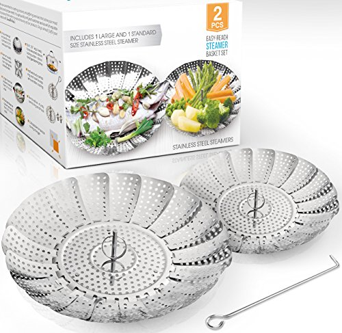 Two-Pack (Large and Standard) Vegetable Steamer Basket Set -...