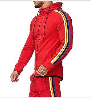 Mogogo Mens Active Fashion Full Zip Oversized Striped Hooded Sweatshirt