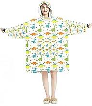 Deken Hoodie, Casual Zachte Microfiber Housecoat, Warm Nachthemd voor Mannen Vrouwen met Gekleurde Dinosaurussen Patroon G...