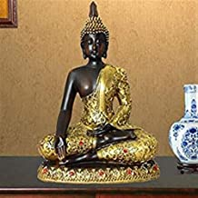 PPCP Sakyamuni Resin Statue Meditation Peace Harmony Statue Religious Decoration Southeast Asian Style Crafts 14.5×8.5×20cm