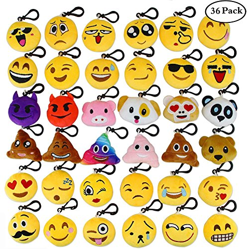 Aiduy Mini Emoji Plüsch Schlüsselanhänger 5CM Emoji Kissen Plüschtiere Party Favors für Babys Set von 36