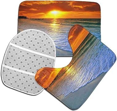 Juego De Alfombra De Baño Suave Antideslizante De 3 Piezas Para Playa Con Alfombra De Baño Sunset + Cubierta De Asiento De In