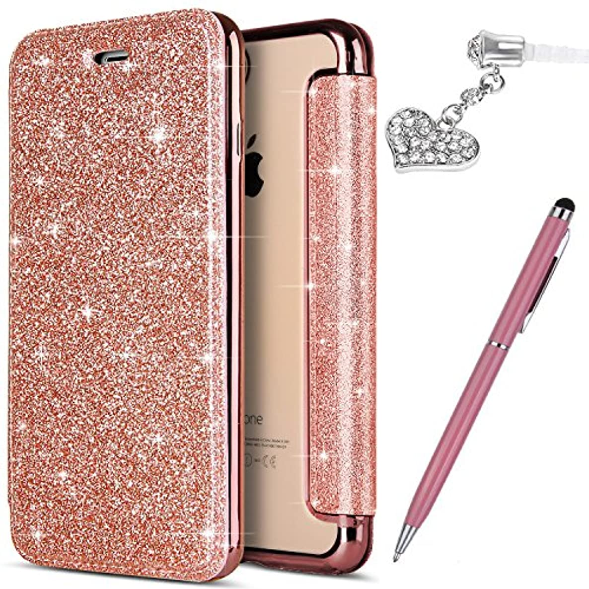 ikasus iPhone 8 Plus Case,iPhone 7 Plus Case, Shiny Glitter Plating TPU PU Leather Flip Wallet Pouch Bookstyle Cover & Card Slots Case Cover +Touch Pen Dust Plug for iPhone 8 Plus / 7 Plus,Rose Gold