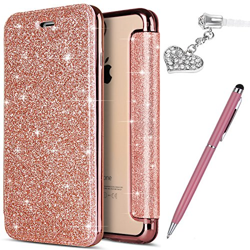 iPhone 6S Plus Case,iPhone 6 Plus Case, Crystal Shiny Glitter Plating TPU PU Leather Flip Wallet Pouch Bookstyle Cover & Card Slots Protective Case Cover +Touch Pen Dust Plug,Rose Gold