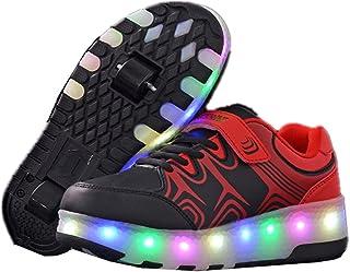 Girls Boys LED Light Roller Skate Shoes Single Wheel Sneakers