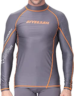 LINGMIN Men's Long Sleeve Surf Rash Guard - UV Protection Print Splice Swim Shirt Beach Sports Compression Swimwear